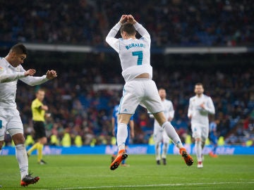 Cristiano Ronaldo celebra su primer gol contra el Getafe