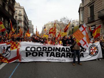 La cabecera de la manifestación de Tabarnia