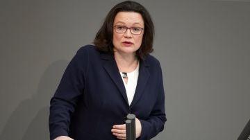 Andrea Nahles, presidenta del grupo parlamentario del Partido Socialdemócrata Alemán (SPD),