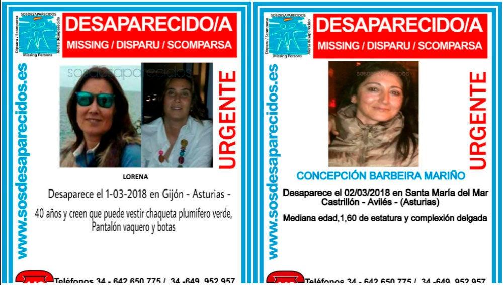 Imagen de las dos mujeres desaparecidas en Asturias en los últimos días