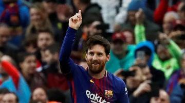 Messi marcando el gol 600