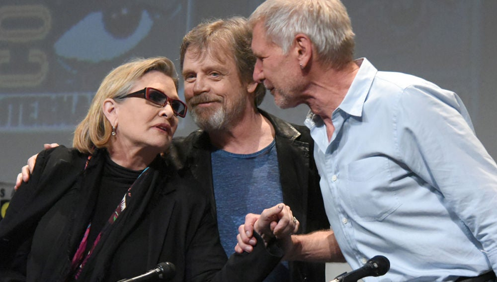 Carrie Fisher, Mark Hamill y Harrison Ford