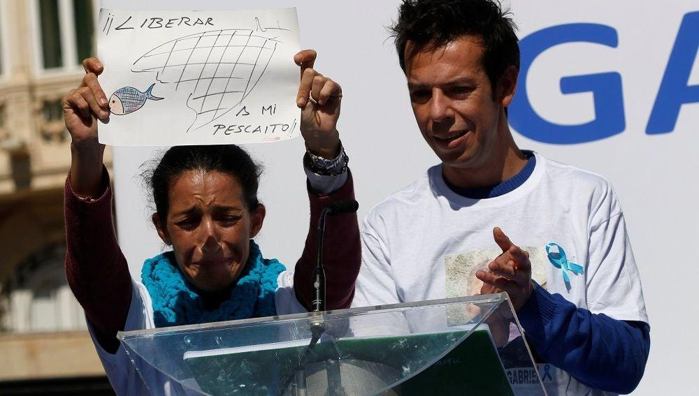 Patricia Ramírez y Ángel Cruz, los padres de Gabriel, el menor desaparecido en Níjar, durante la concentración en Almería