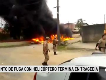 Un helicóptero robado para ayudar en la fuga de un preso se estrella en Brasil