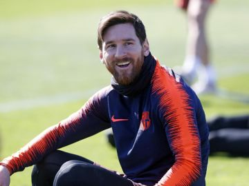 Messi, sonriente