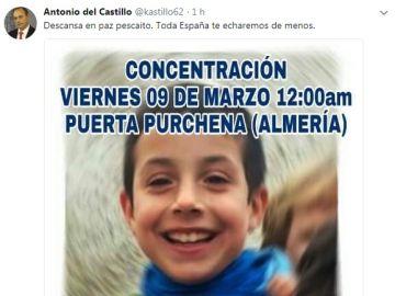 Tuit de Antonio del Castillo tras encontrarse el cadáver de Gabriel