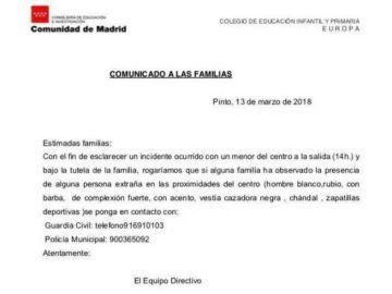 Comunicado tras el incidente ocurrido en Pinto