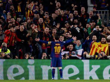 Messi celebra su segundo gol al Chelsea