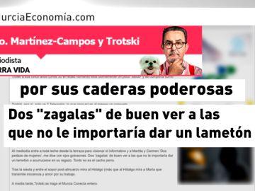 Polémica por el artículo machista de un directivo de una televisión en Murcia hacia las presentadoras