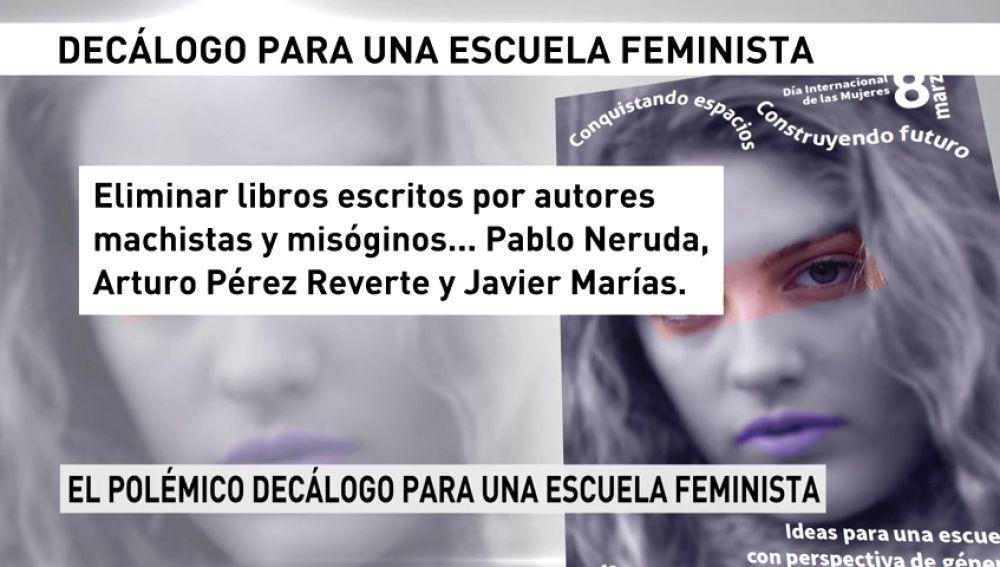 """Un decálogo de la """"escuela feminista"""" en el que se pide prohibir a Neruda, a Marías, a Reverte y el fútbol en el recreo"""