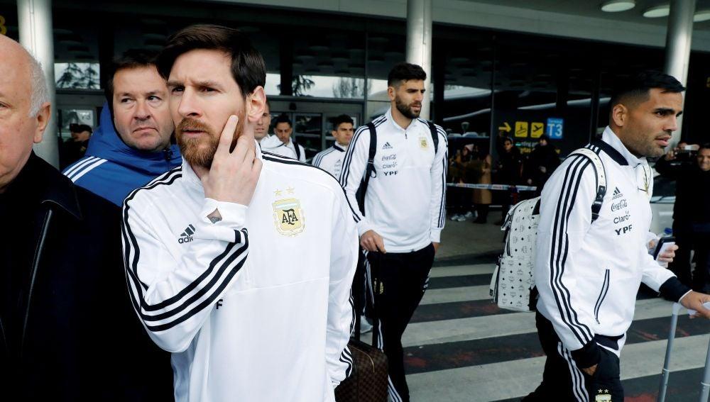 Messi y la selección argentina, llegando a Madrid