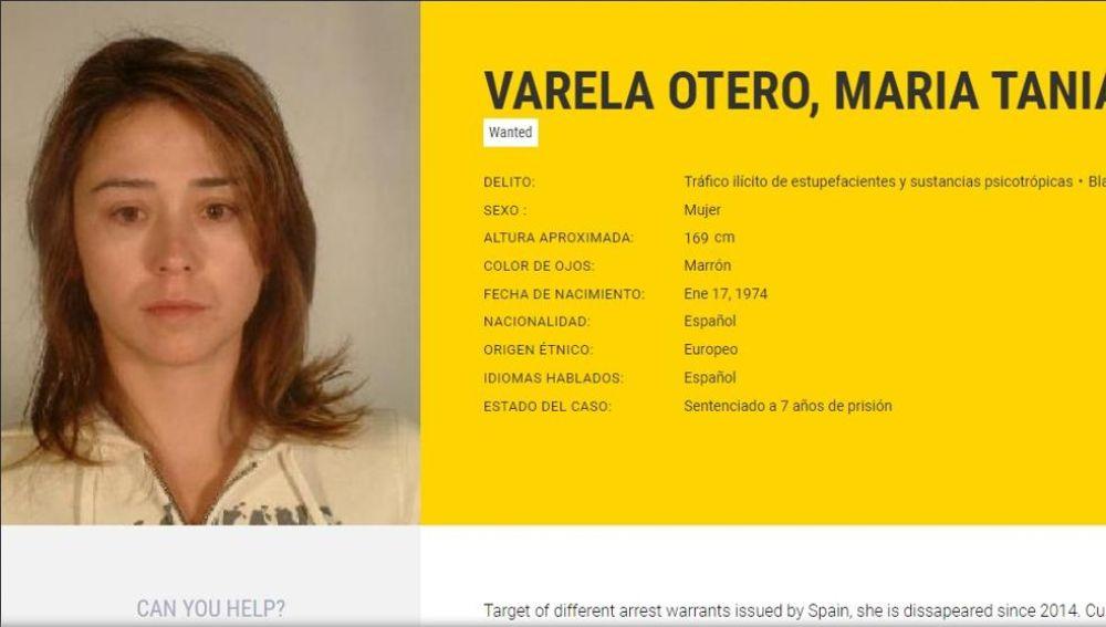 Tania Varela, en la ficha pública de Europol