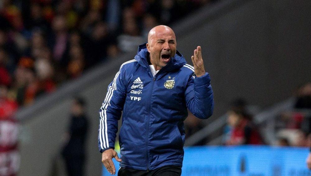 Jorge Sampaoli, en el partido contra España