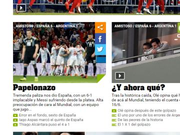 Titulares del diario 'Olé'