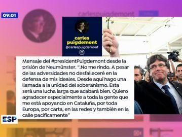 Mensaje de Puigdemont en Instagram