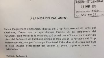 Puigdemont pide delegar el voto
