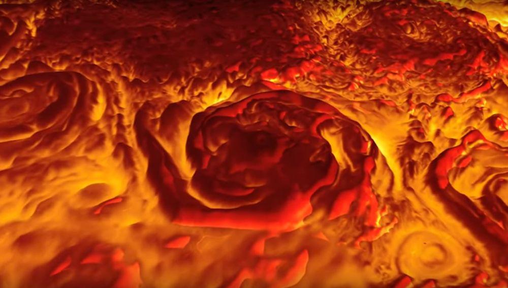 Ciclones captados en Júpiter por la sonda Juno
