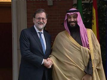 Mariano Rajoy recibe al príncipe heredero saudí en su visita a España