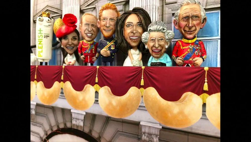 Un artista utiliza nueces para representar a la familia real británica