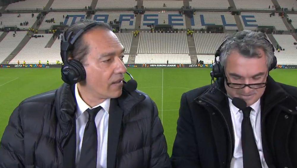 El comentarista Denis Balbir, tras el Marsella - Leipzig