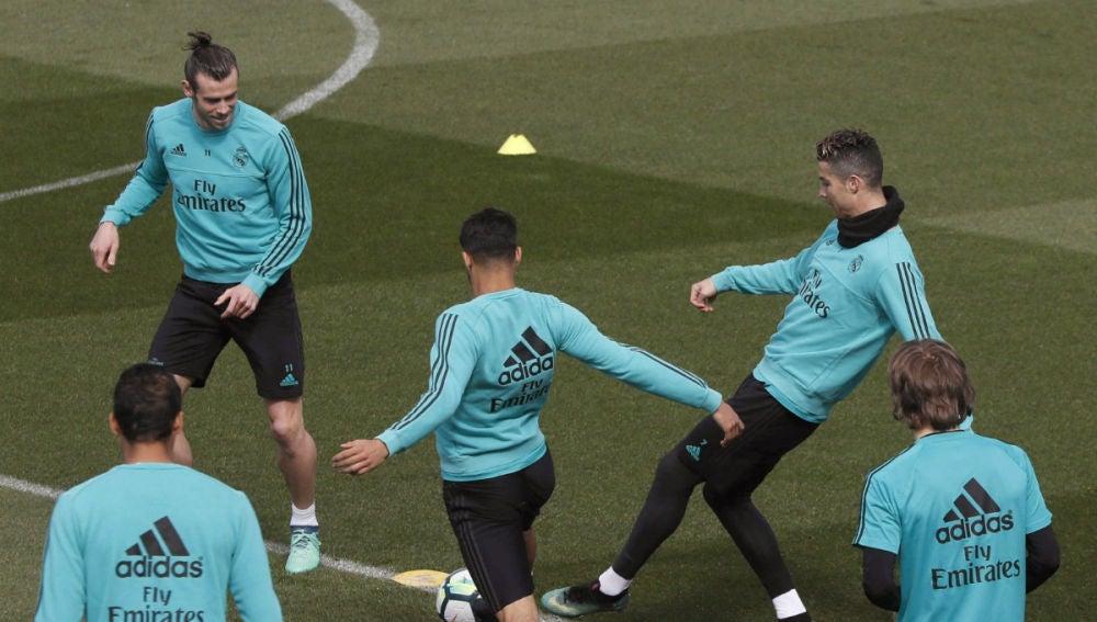 Ronaldo y Bale, en un entrenamiento del Real Madrid