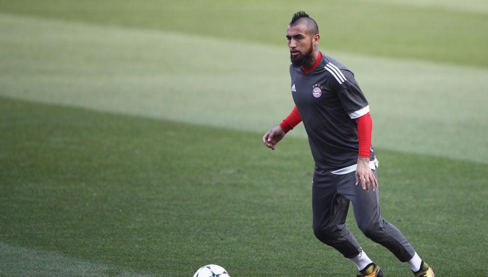 Arturo Vidal, en un entrenamiento del Bayern