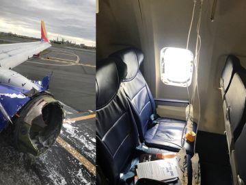 Avión que ha aterrizado de emergencia en Filadelfia