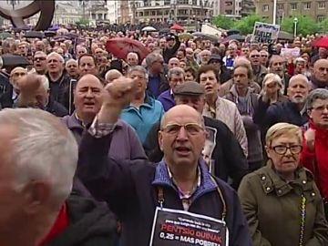 Nuevo lunes de protesta de pensionistas en Bilbao