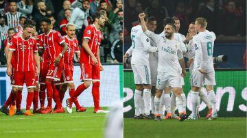 Los jugadores de Bayern y Real Madrid celebran un gol en la Champions