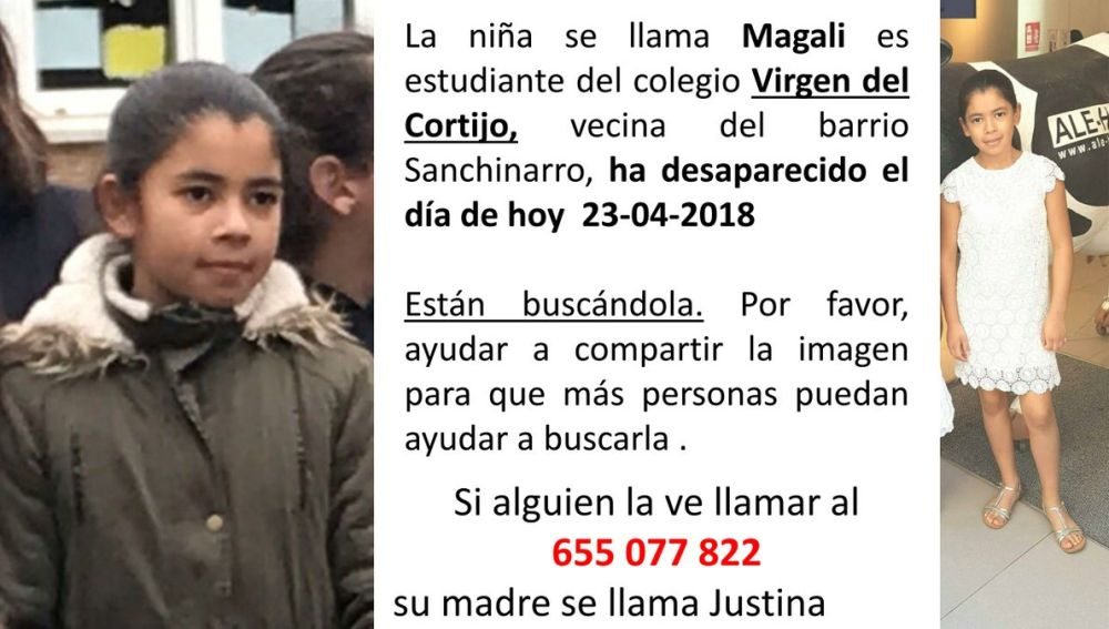 Niña desaparecida en Madrid