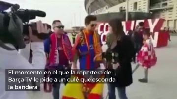 Una reportera de Barça TV pide a un aficionado culé que esconda la bandera de España para entrevistarle