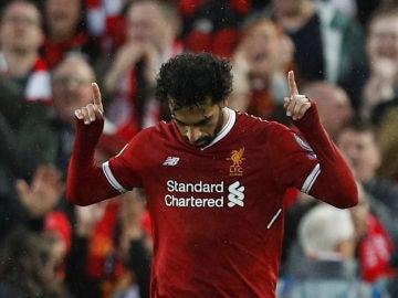 Salah celebra su segundo gol contra la Roma