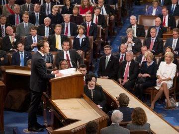 El presidente galo, Emmanuel Macron, ofrece un discurso ante el Congreso de los Estados Unidos