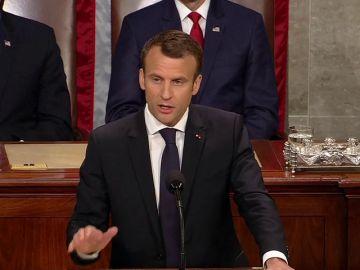 """Macron advierte a EEUU de """"la ilusión del nacionalismo"""" en su discurso ante el Congreso"""