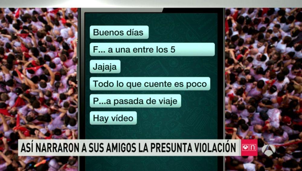"""Los mensajes que compartieron los detenidos por violación en Sanfermines: """"Follándonos a una entre los 5"""""""