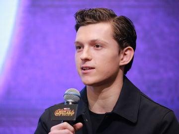 Tom Holland durante la gira promocional de 'Vengadores: Infinity War'