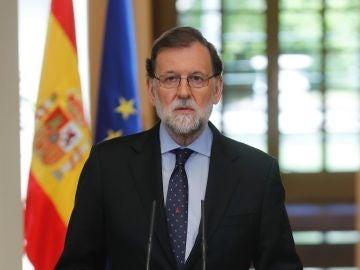 Mariano Rajoy durante la declaración institucional