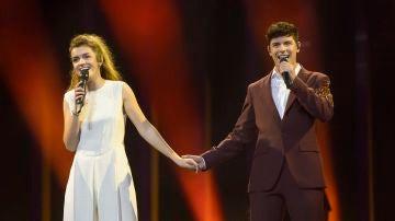 Amaia y Alfred en el primer ensayo para Eurovisión 2018