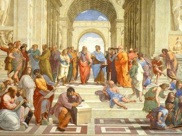 La escuela de Atenas (Rafael Sanzio, Museos Vaticanos)