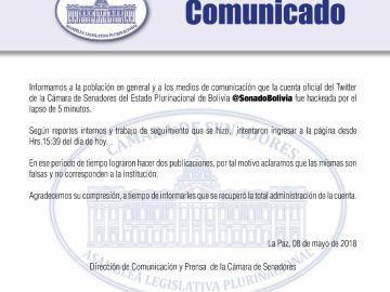 Hackeada la cuenta del Senado de Bolivia