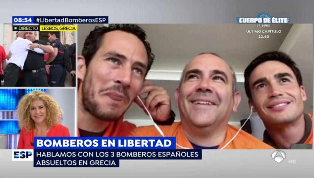 Julio, Manuel y Quique los tres bomberos sevillanos absueltos