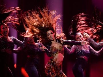 Eleni Foureira en un ensayo de Eurovisión 2018
