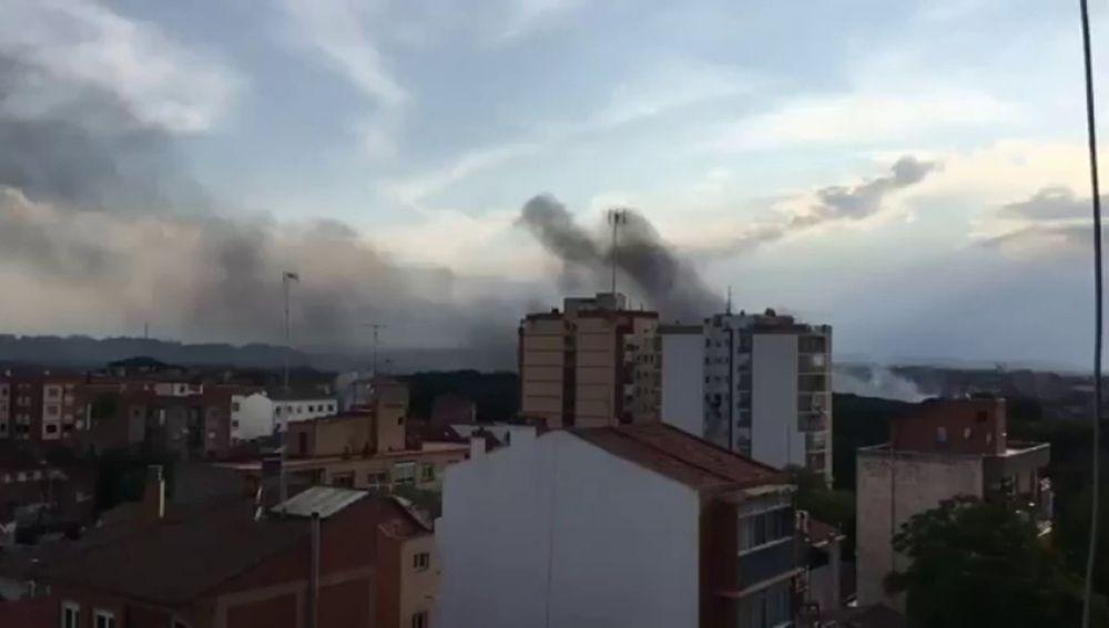 Incendio en Zaragoza cerca del Hospital Militar
