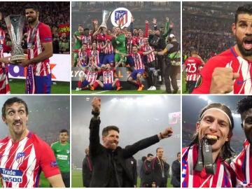 Los jugadores celebran el título de la Europa League