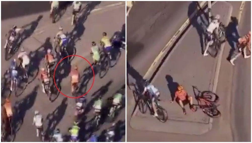 Un ciclista finge caerse para descansar
