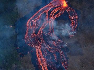 Imagen aérea del volcán Kilauea
