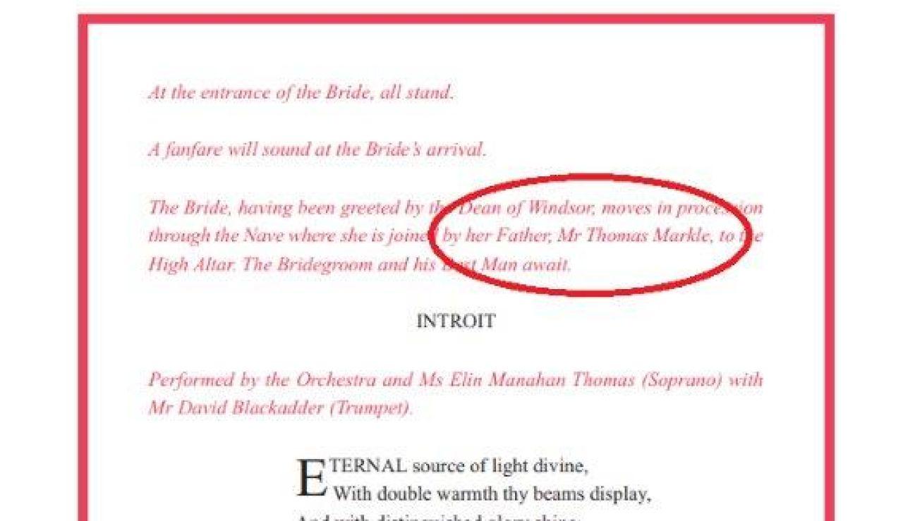 Imagen de la orden oficial de servicio de la boda de Harry y Meghan