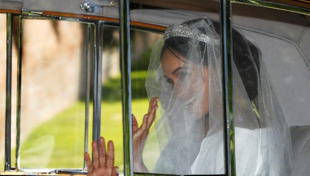 Meghan Markle llegando a su boda con el príncipe Harry