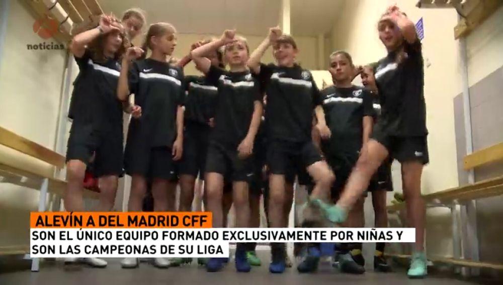 Las niñas del Madrid CFF, campeonas en una Liga en la que todos sus rivales son chicos