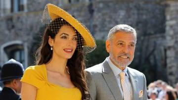 George y Amal Clooney en la boda de Meghan Markle y el príncipe Harry